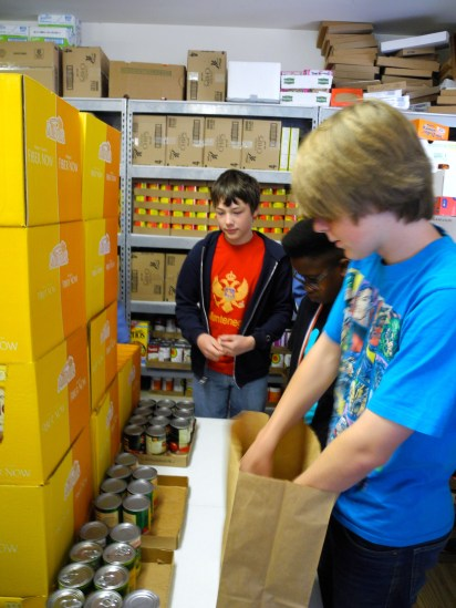 Helping at the food bank