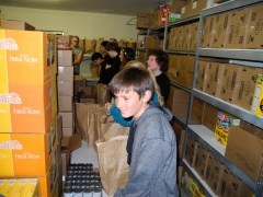 Packing food bank bags