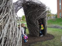 Inside a maple sapling sculpture