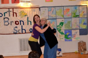 Margaret and Charlotte demonstrate a dance style after the Philadanco field trip
