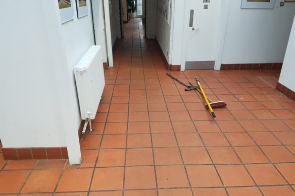 Terracotta Floor Files Before Cleaning Amersham Council Offices