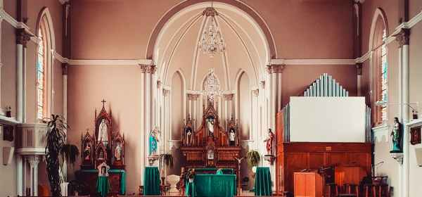 church interior with empty seats