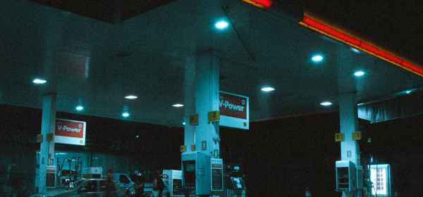 photo of car on gas station