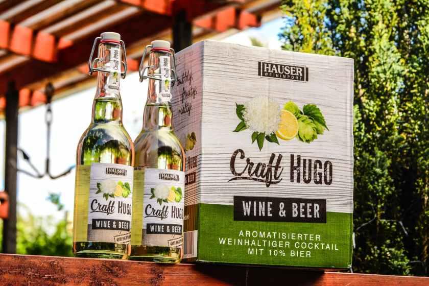 two craft hugo wine beer bootles