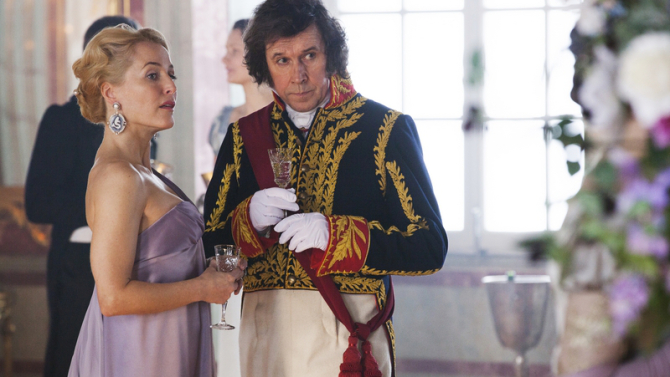 Anna Pavlovna Scherer (Gillian Anderson) Prince Vassily Kuragin (Stephen Rea) looking shady
