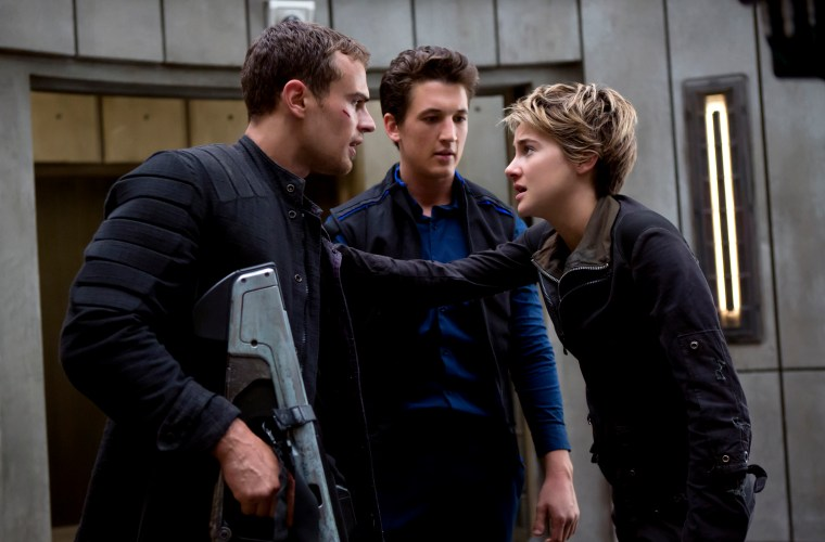 Left To Right: Four (Theo James), Peter (Miles Teller) and Tris (Shailene Woodley)