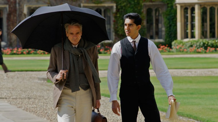 Ramanujan (Dev Patel) and Hardy (Jeremy Irons) (The Man Who Knew Infinity)