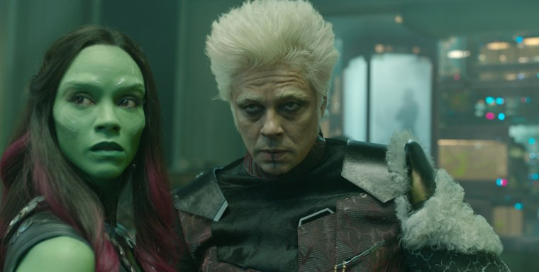 Gamora (Saldana) and The Collector (Del Toro) (Guardians Of The Galaxy, Marvel Studios)
