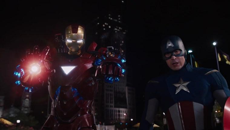 Tony Stark/Iron Man (Robert Downey Jr) & Steve Rogers/Captain America (Chris Evans) Marvel's Avengers, (Marvel Studios)