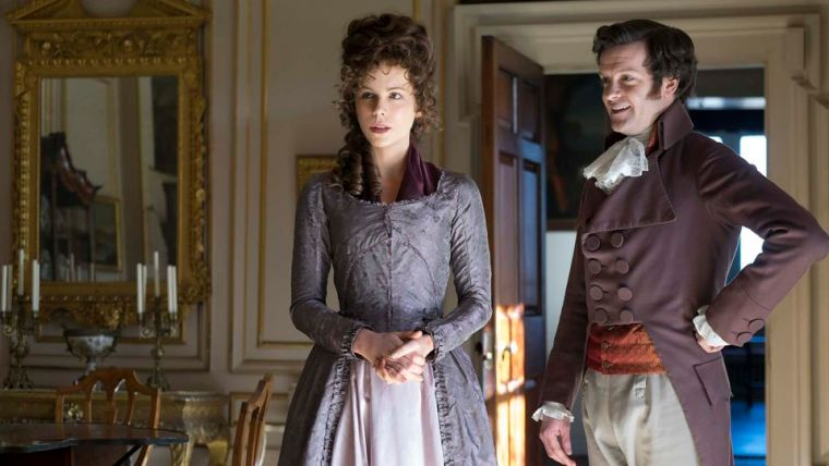 Lady Vernon (Beckinsale) & the very silly Sir James Martin (Love & Friendship, Amazon Studios)