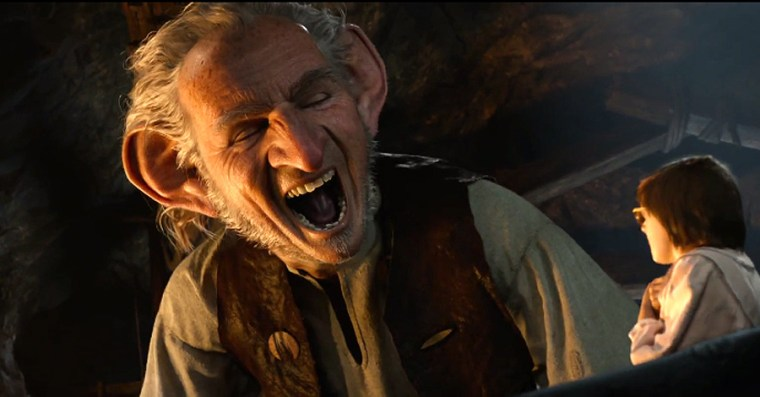 The BFG (Rylance) assures Sophie that he's not a man-gobbling cannybull...and then jokes about it. (The BFG, Walt Disney Pictures)