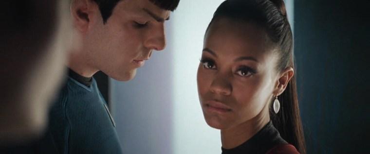 Mr Spock (Quinto) & Uhura (Saldana) (Star Trek, Paramount Pictures)