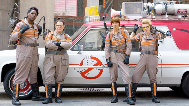 Patty (Jones), Abby Yates (McCarthy), Erin (Wiig) and Holtzmann (McKinnon) (Ghostbusters, Universal Studios)