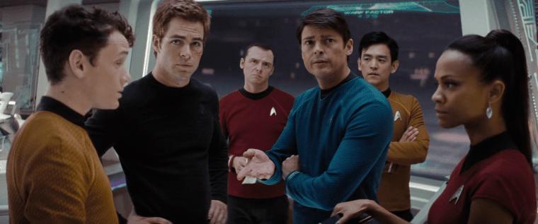 Chekov (Yelchin), Kirk (Pine), Scotty (Pegg), McCoy (Urban), Sulu (Cho) and Uhura (Saldana) (Star Trek, Paramount Pictures)