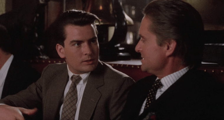 Bud (Charlie Sheen) and Old Scratch (Michael Douglas) (Wall Street, 20th Century Fox)