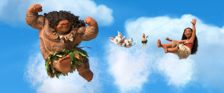 Maui (Johnson), the still alive Pua Push, the somehow-still-alive-not-so-bright chicken and Moana