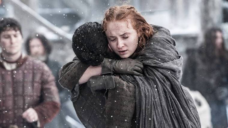 The reunion between Jon Snow (Kit Harington) and his half-sister (cousin) Sansa Stark (Sophie Turner) is enough to make your heart melt (Game Of Thrones, HBO)
