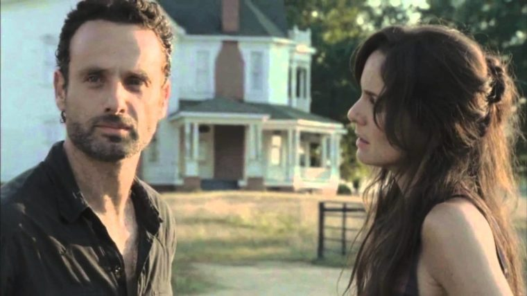 Rick Grimes (Andrew Lincoln) with wife Lori Grimes () in The Walking Dead (The Walking Dead, AMC)