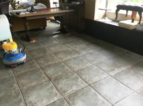 Cleaning Ceramic Tile and Grout Before Cleaning Rushden Sun Room