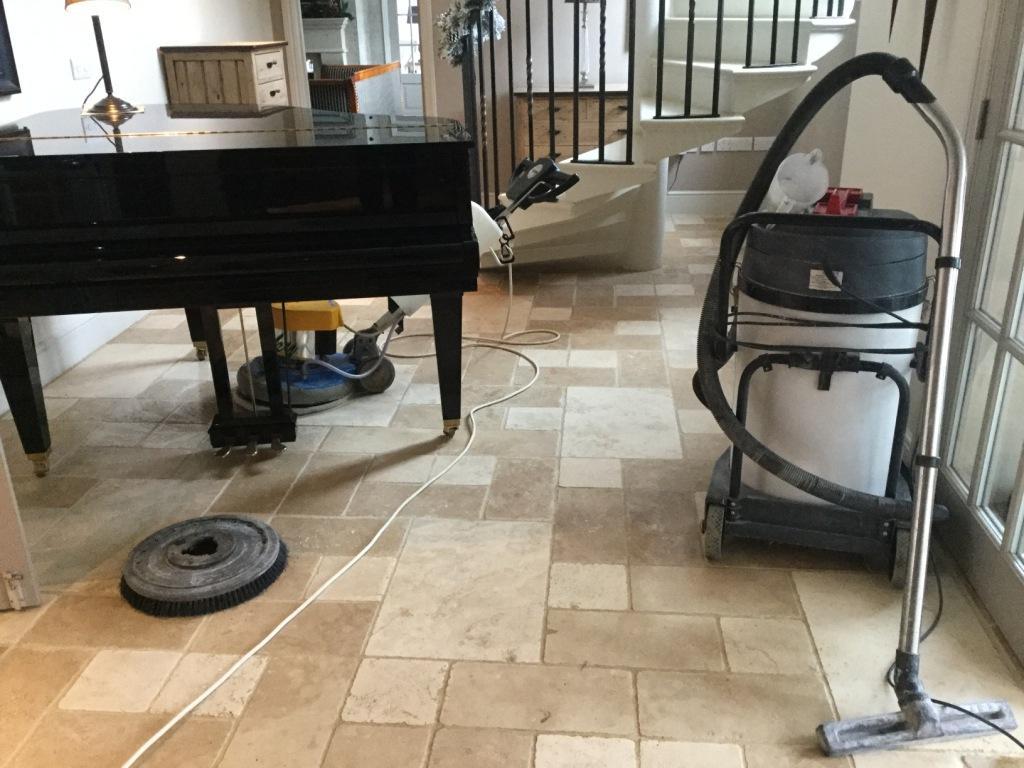 Travertine Tiled Floor Orlingbury Before Maintenance