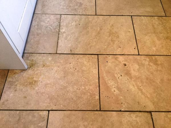 Polished Travertine Kitchen Floor Before Polishing Abthorpe Towcester