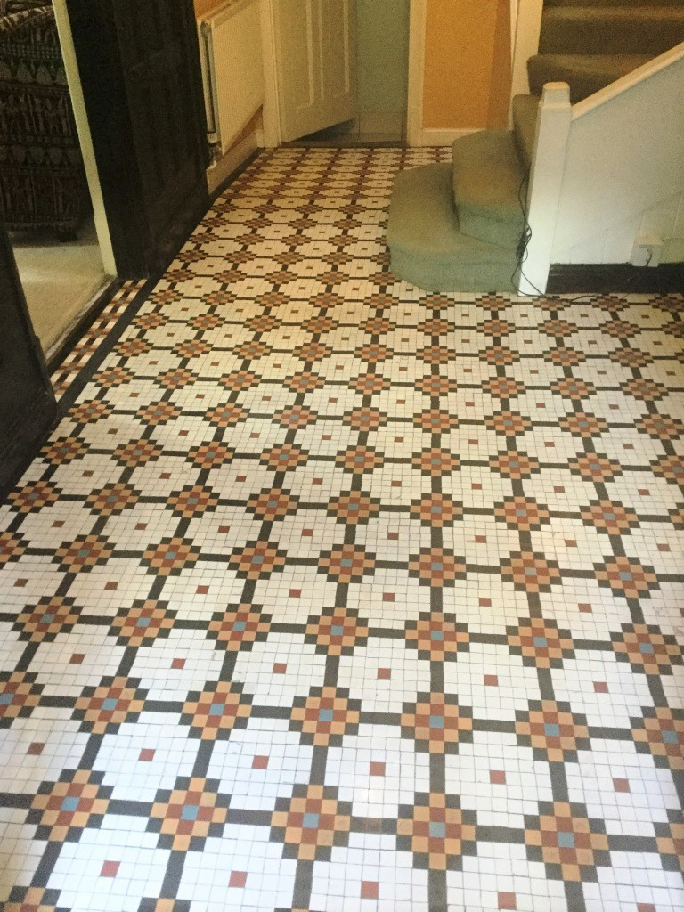 Edwardian Mosaic Tiled Hallway Floor After Cleaning Abington Park