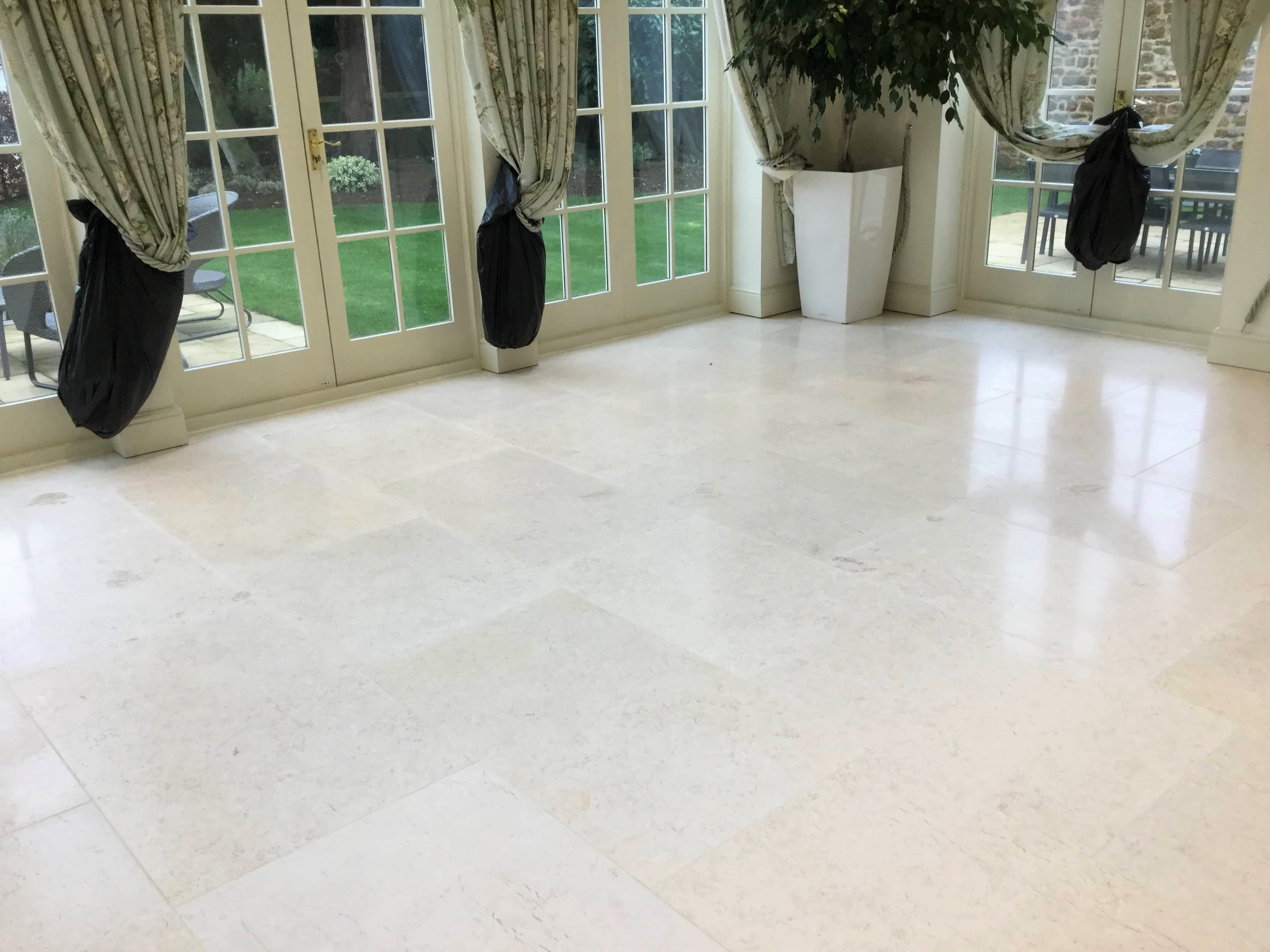 Limestone Tiled Dining Room Floor After Renovation Ecton