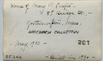 Notes written on back of image of 87 Bridge Street, Northampton MA