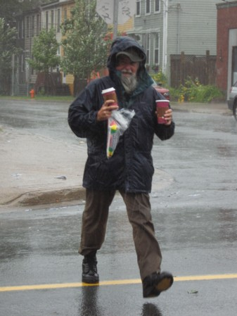 Hurricane Bill didn't stop this guy going for a snack.