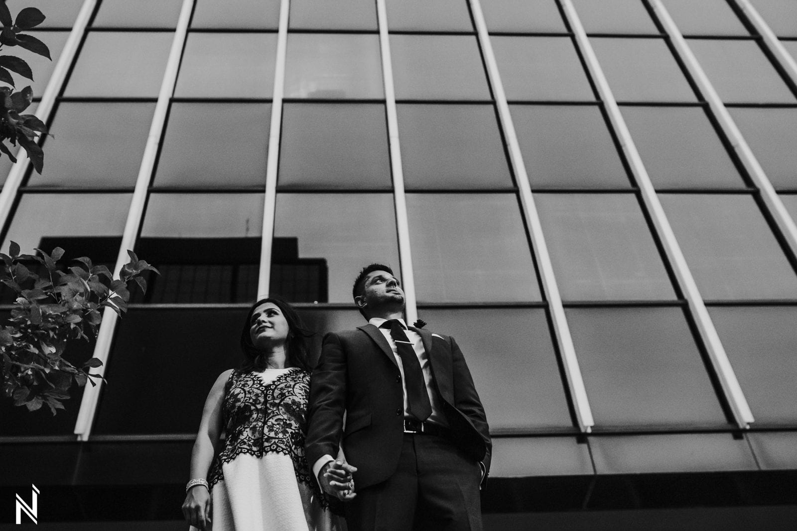 Indian engagement photography in Downtown Clayton, Missouri