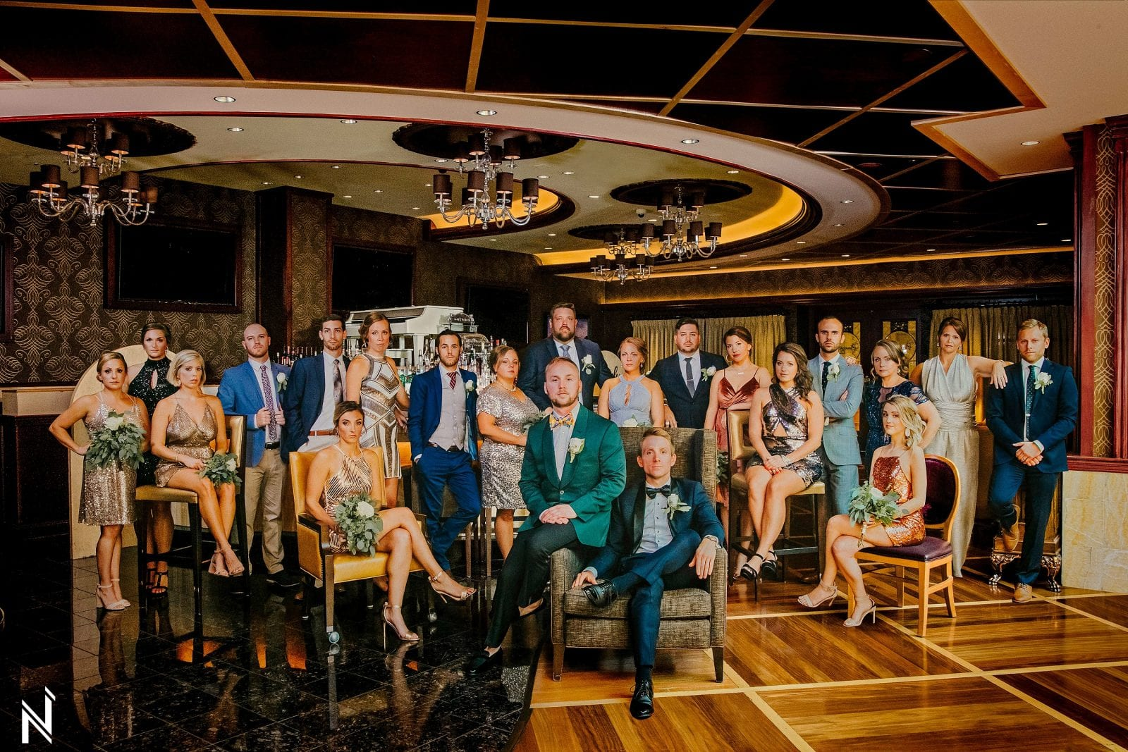 St. Louis epic wedding party photograph at River City Casino