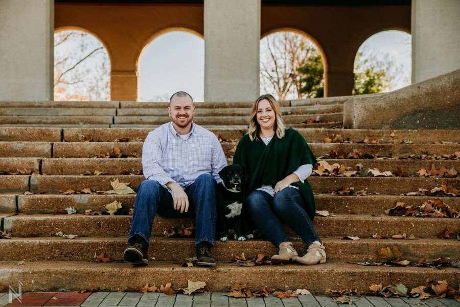 ST. Louis couples winter photography session with their dog at Forest Park