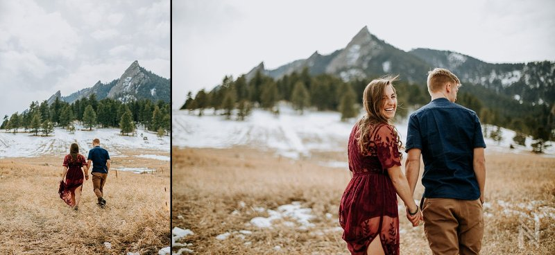 Boulder Colorado Flatirons Engagement Photography with Snow and Lace romper