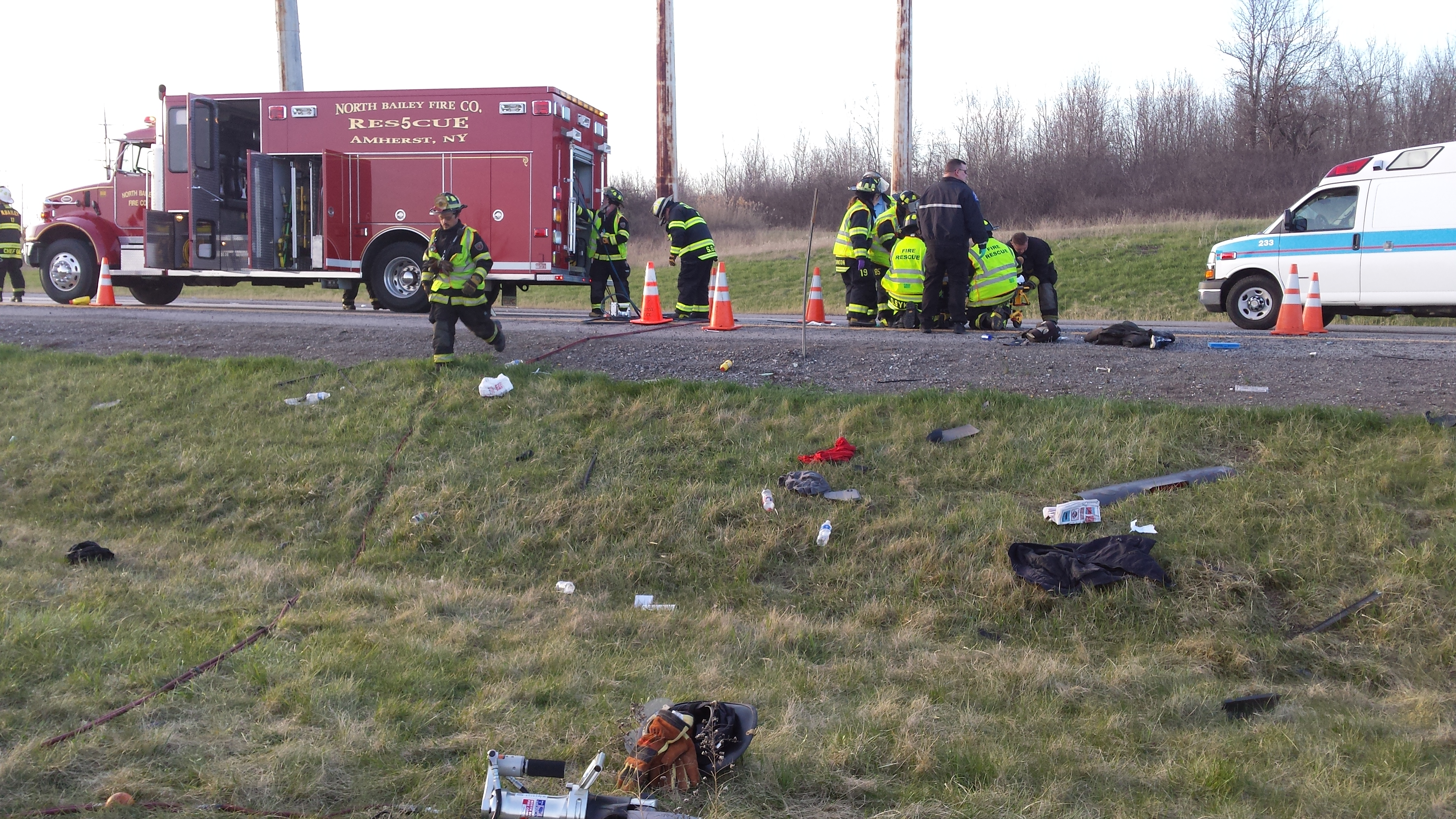 North Bailey Respond's to Roll Over Accident on I-990 & I