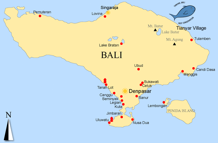 north bali reef conservation - bali map