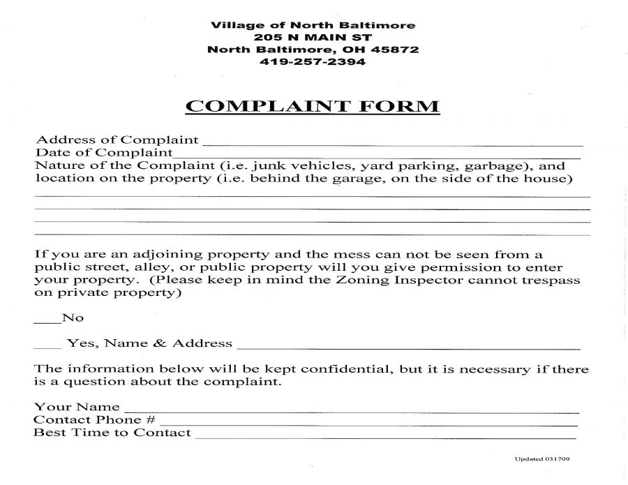 Citizen Complaint Form  Village Of North Baltimore