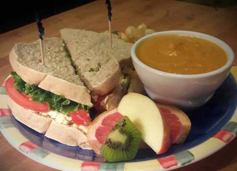Black Dog Egg Salad Sandwich on our Homemade Bread with Pumpkin Curry soup