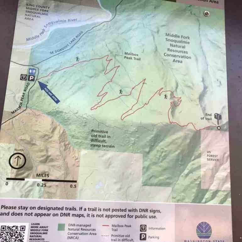 Mailbox Peak Trail Map