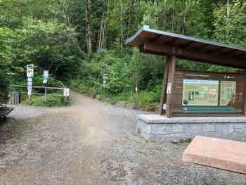Rattlesnake Mountain Trailhead Entrance to both hiking and Raging River biking trails
