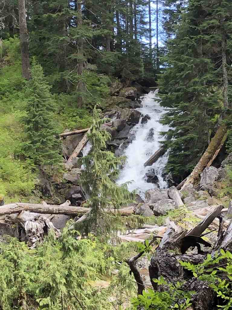 Waterfall about 0.75 miles up Snoqualmie Lake trail from the Junction