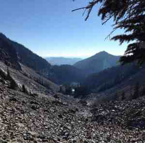 Nearing Melakwa Pass Summit after crossing rockfield