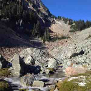 Headwaters of the Pratt River on the way up Melakwa Pass