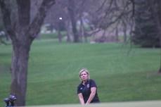 Nashua-Plainfield's Megan Cerwinske chips onto the green Tuesday during the girls golf meet at Cedar Ridge Golf Course in Charles City. (Photo by Chris Baldus)