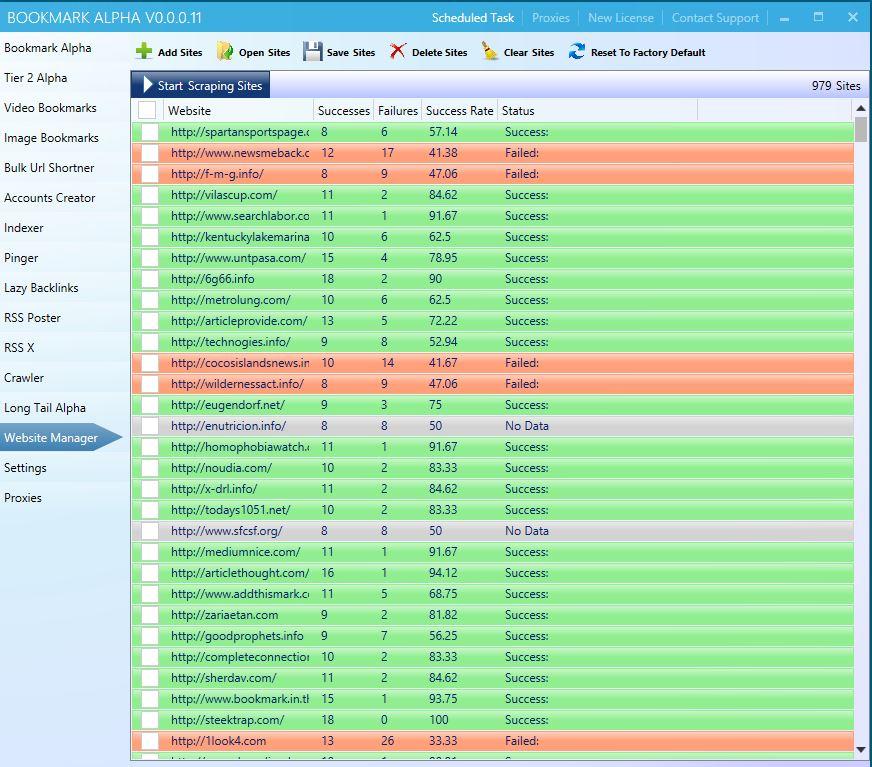 Bookmark Alpha Website Manager Tool
