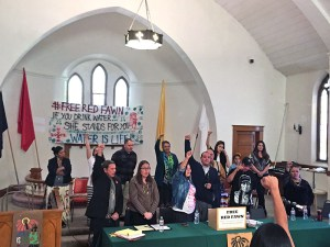 "A meeting on behalf of Red Fawn Fallis at the Four Winds Indian Council underscored the issue of water rights and civil rights violations being perpetrated in North Dakota. Glenn Morris said, ""We intend to vigorously defend our daughter, niece, mother and friend. We take these allegations seriously. The struggle will not cease."""