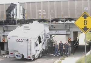 RV hits a low bridge