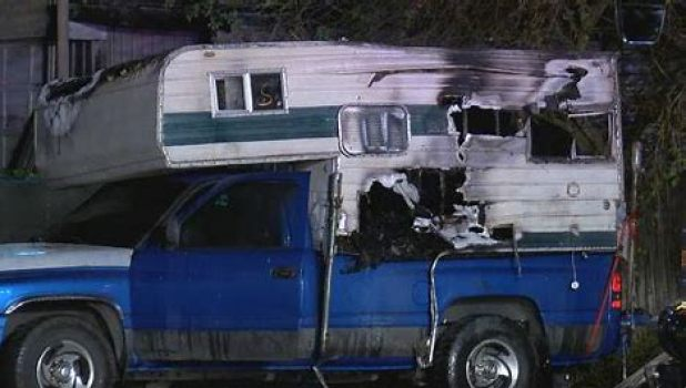 Truckcamper caught fire