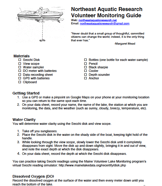 Volunteer monitor guide page 1