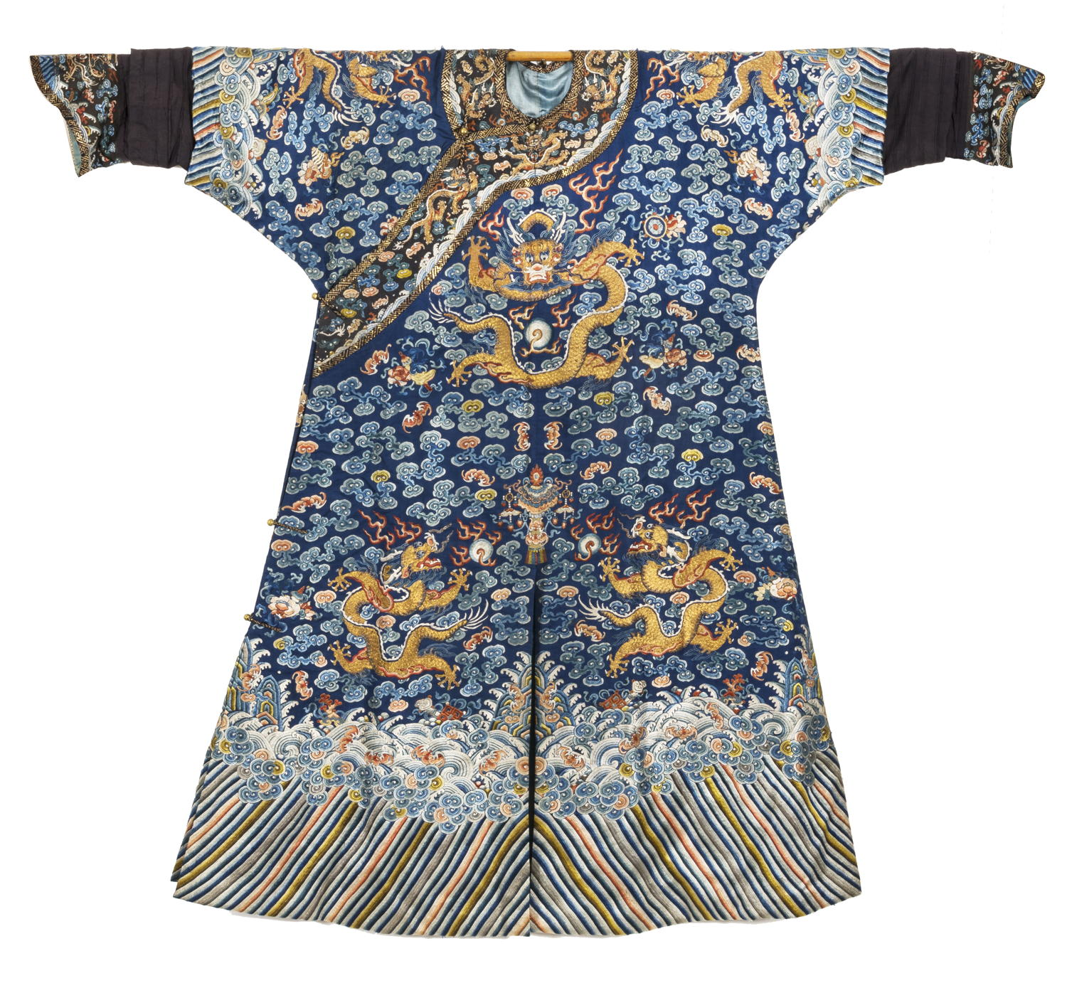 81b7783f596a3 CHINESE BLUE SILK ROBE EMBROIDERED WITH IMPERIAL DRAGON MOTIFS, TOGETHER  WITH A CHINESE OFFICIAL'S HAT AND FOUR OTHER ARTICLES OF CLOTHING.