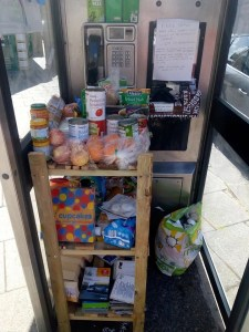 The Alnwick community larder, in an old BT phone box.